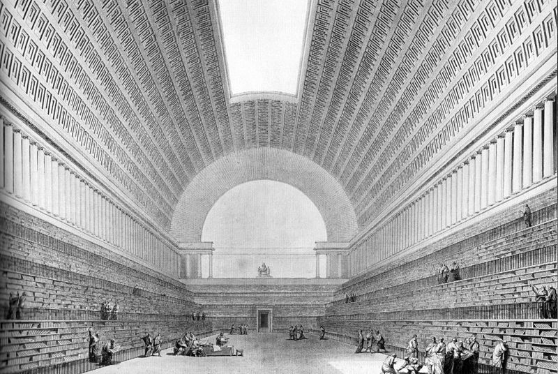 Etienne- Louis Boullée, Project for the National LIbrary, Perspective view