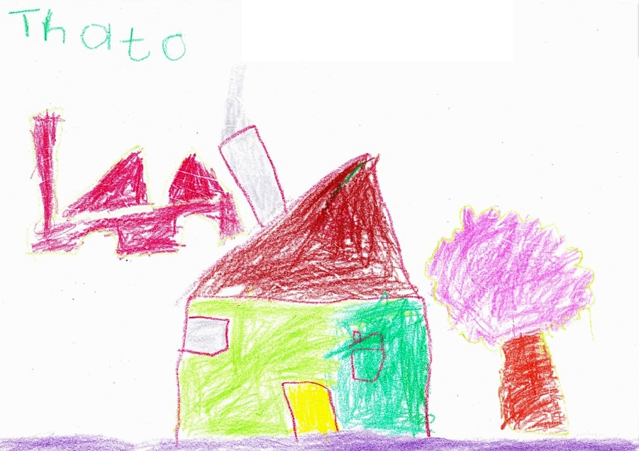 Drawing of his dream house, Thato, age 7, Lonely Park Township, Mafikeng, South Africa