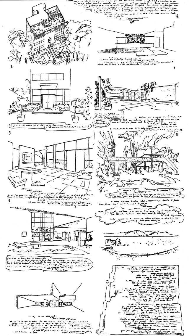 Le Corbusier, Villa Meyer, sketches and notes to Mme. Meyer